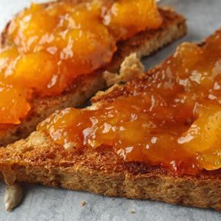 Sliced toast spread with jam