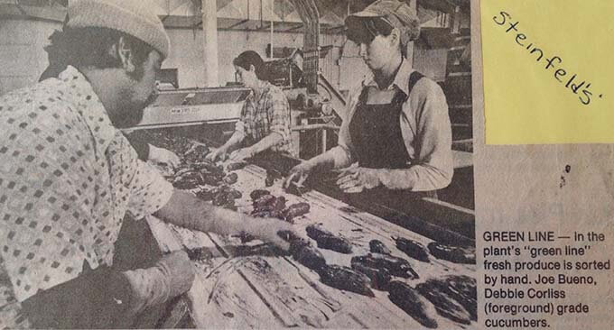On the line at Steinfield's Pickle Plant. This picture was taken by the Oregonian Newspaper. I think I was 17 years old.