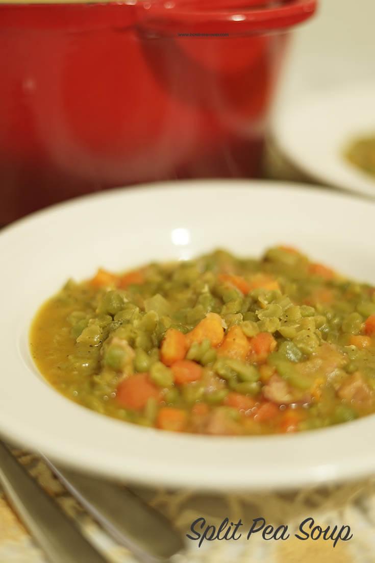 A white bowl, filled with split pea soup. #BowlMeOver #SplitPeaSoup