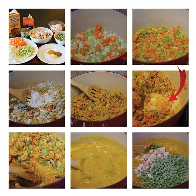 Step by step directions to make chicken pot pie soup