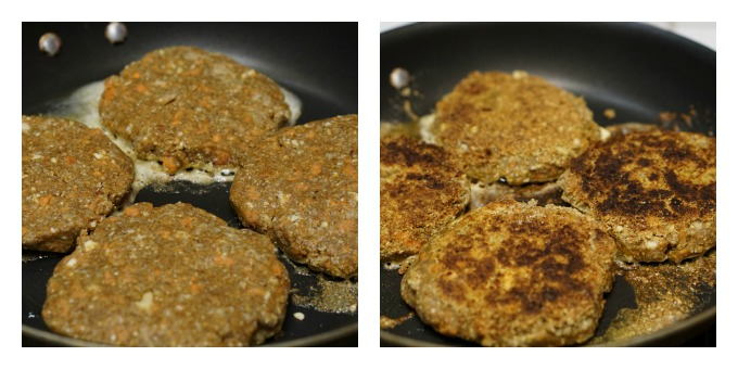 Shape the nut burgers into patties and fry them until golden brown on each side.