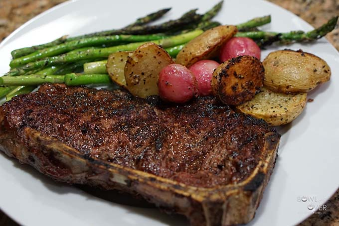 Grilled steak, asparagus and radishes.