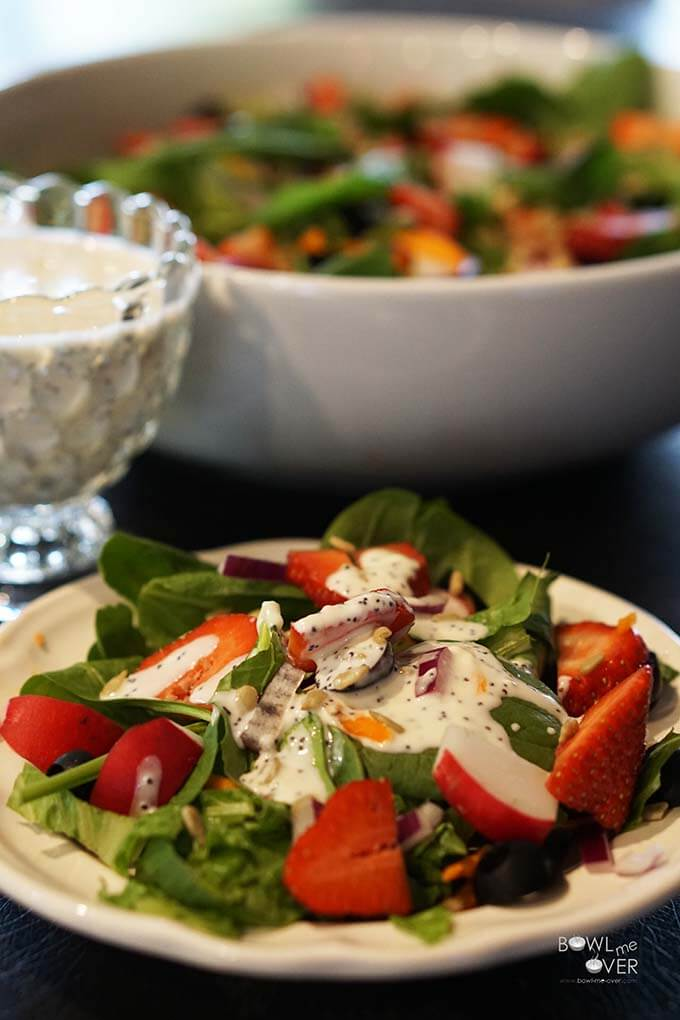 Poppy Seed Salad Dressing with Spinach Salad