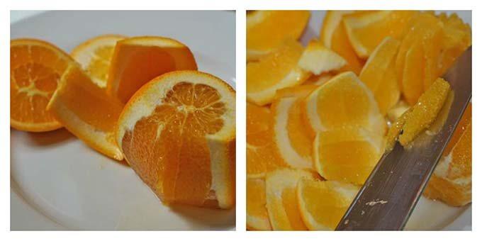 Peel the oranges and remove the segments.