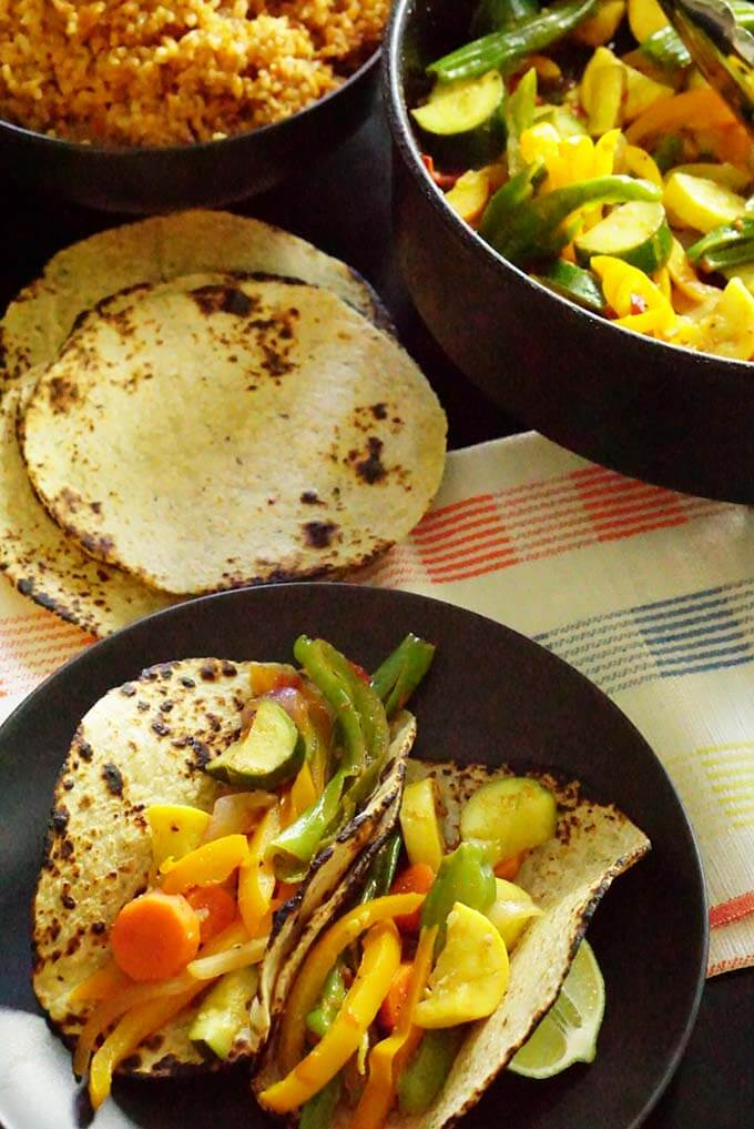 Crunchy Vegetable Tacos with just a bit of spice - perfect for #MeatlessMonday!