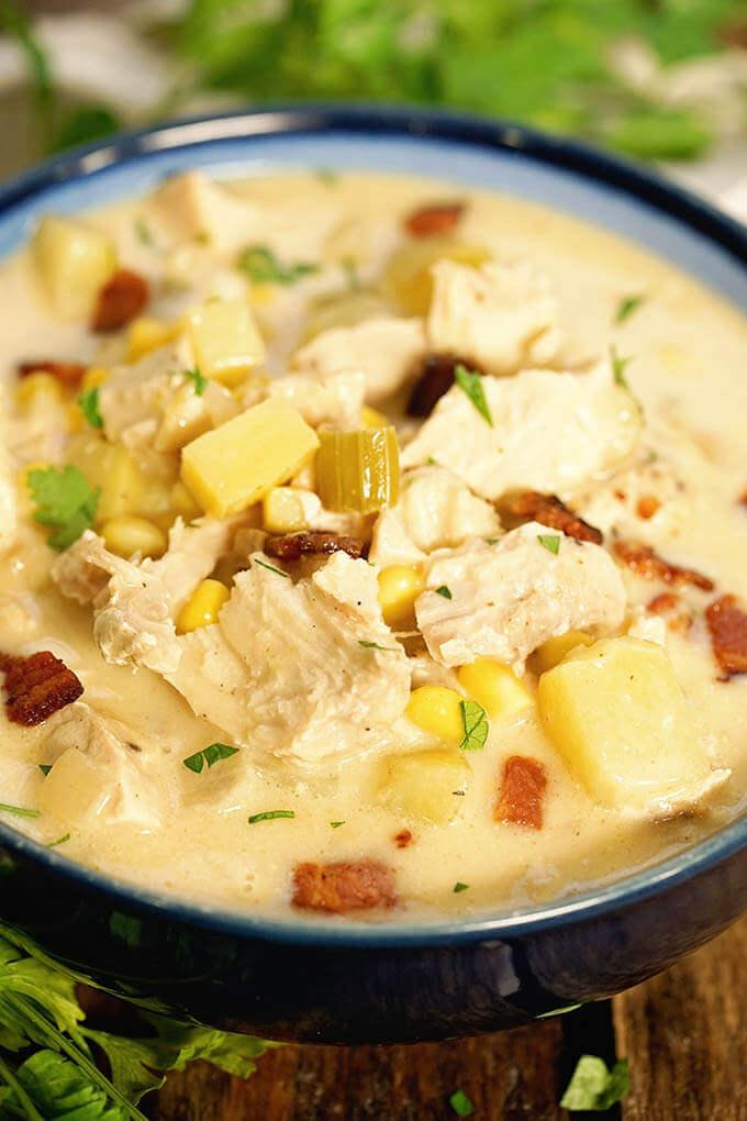 A bowl filled with Turkey Corn Chowder