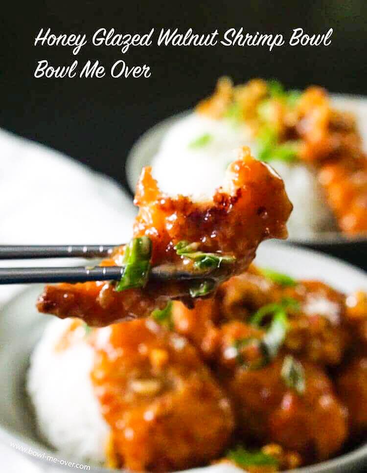 Honey Walnut Shrimp Bowl in white bowl with chopsticks.
