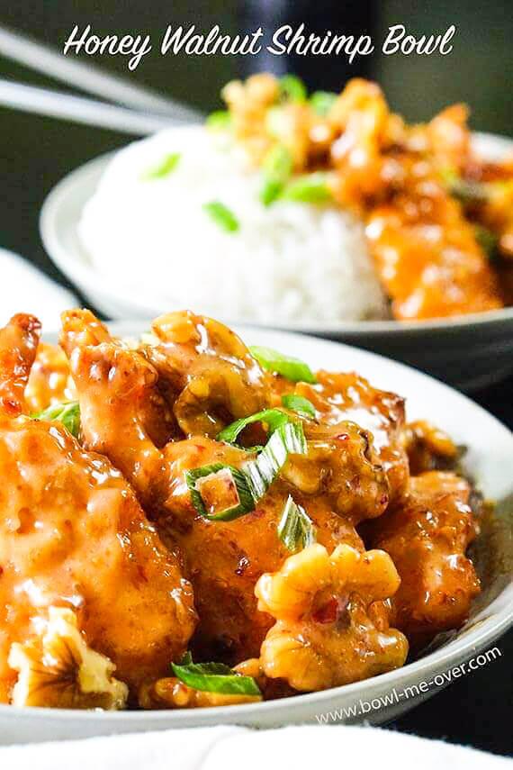 Panda Express honey walnut shrimp Recipe in white bowls with rice.
