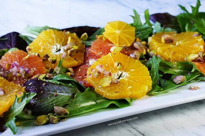 This orange salad is full of crunchy, sweet deliciousness!