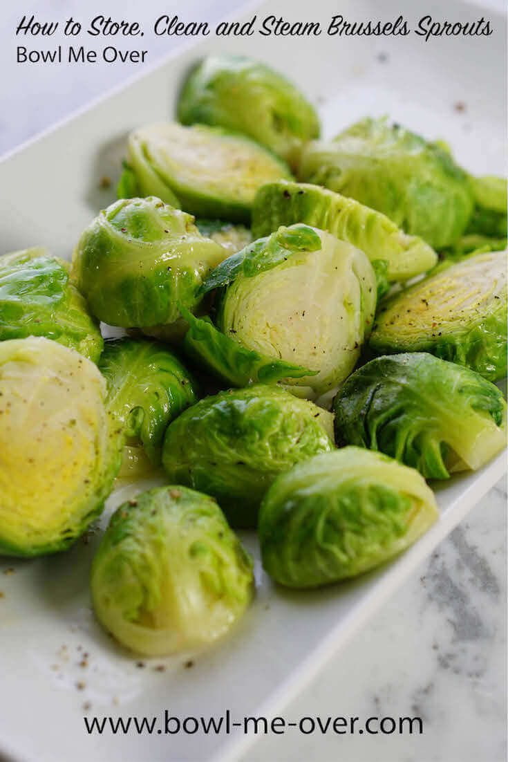 Simple set-by-step directions to store, clean and steam Brussels sprouts.