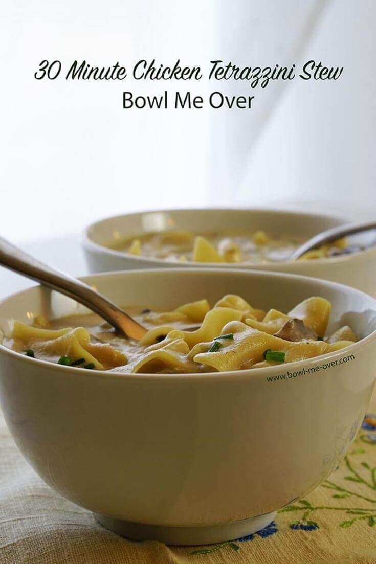 Two large bowls filled with Chicken Tetrazzini Stew. This creamy soup is stuffed full of noodles, rotisserie chicken and mushrooms.