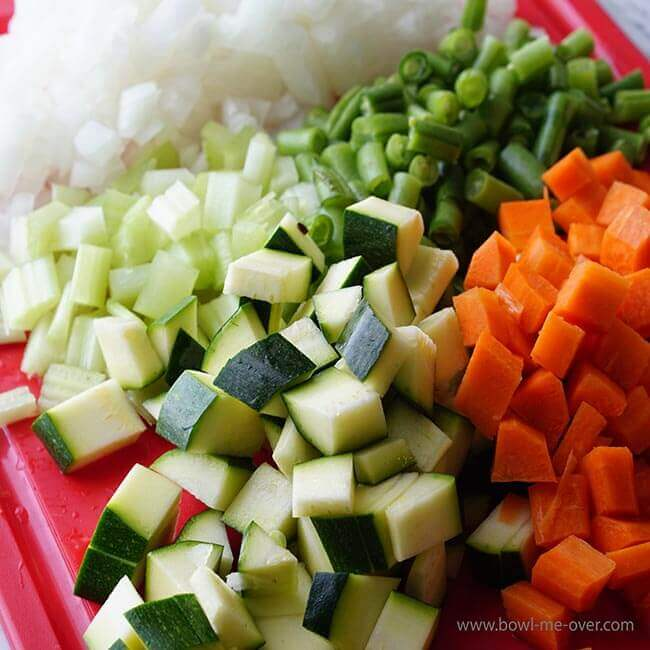 Dice the vegetables