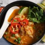 30 Minute Thai Curry Noodle Soup in black bowl