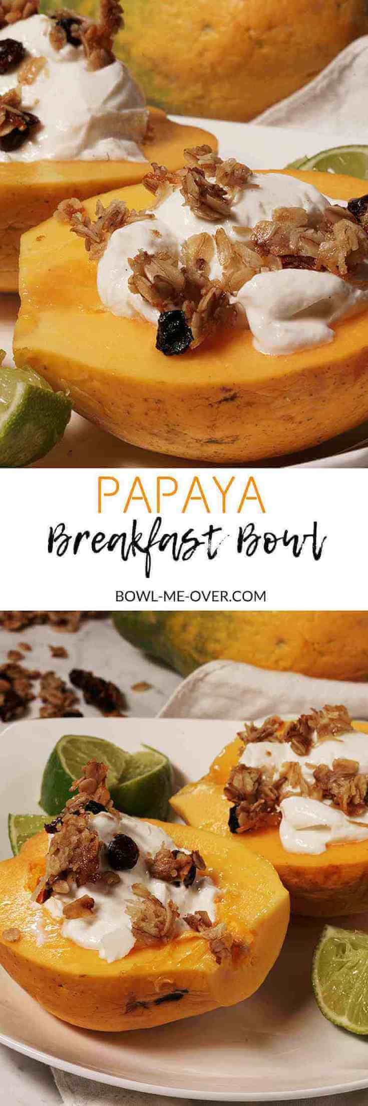 Sliced papayas filled with thick greek yogurt and topped with granola and surrounded by wedges of lime.