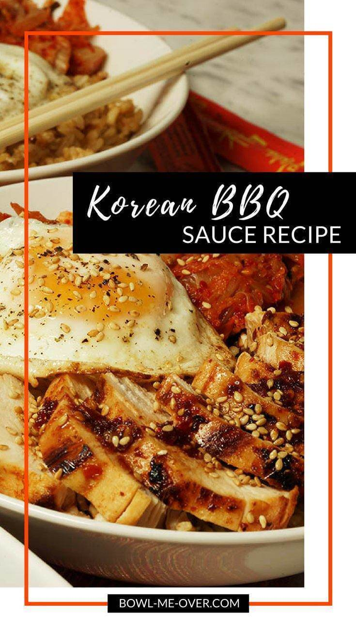 A Korean rice bowl topped with grilled chicken using a Korean BBQ Sauce recipe, kimchi and a perfectly fried egg!