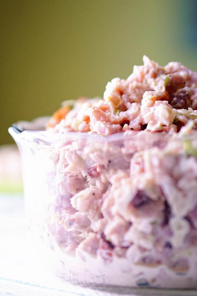 Deviled Ham Recipe in a clear glass bowl