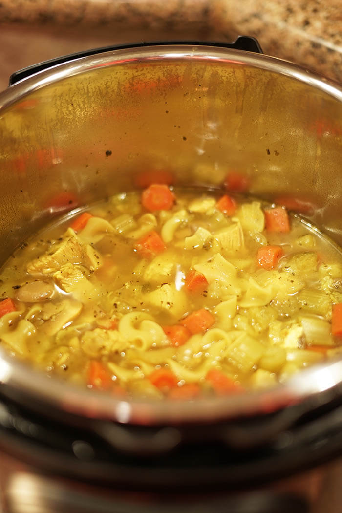 A hot pot of soup, this is a Chicken Soup Instant Pot Recipe