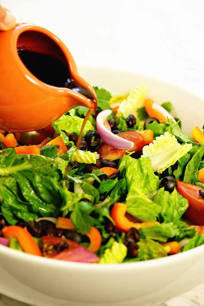 Balsamic dressing drizzled over easy southwest salad recipe