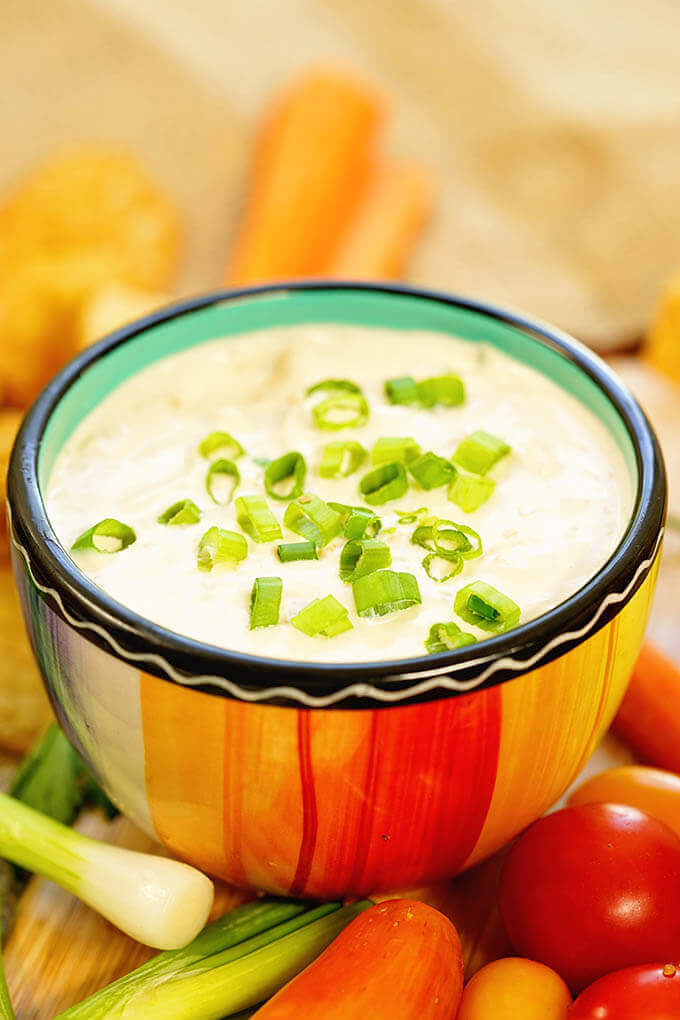 A colorful bowl filled with onion dip surrounded by chips and vegetables.
