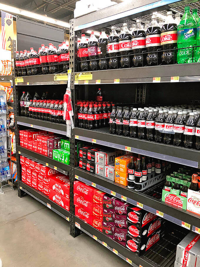 The soda aisle in the grocery store.