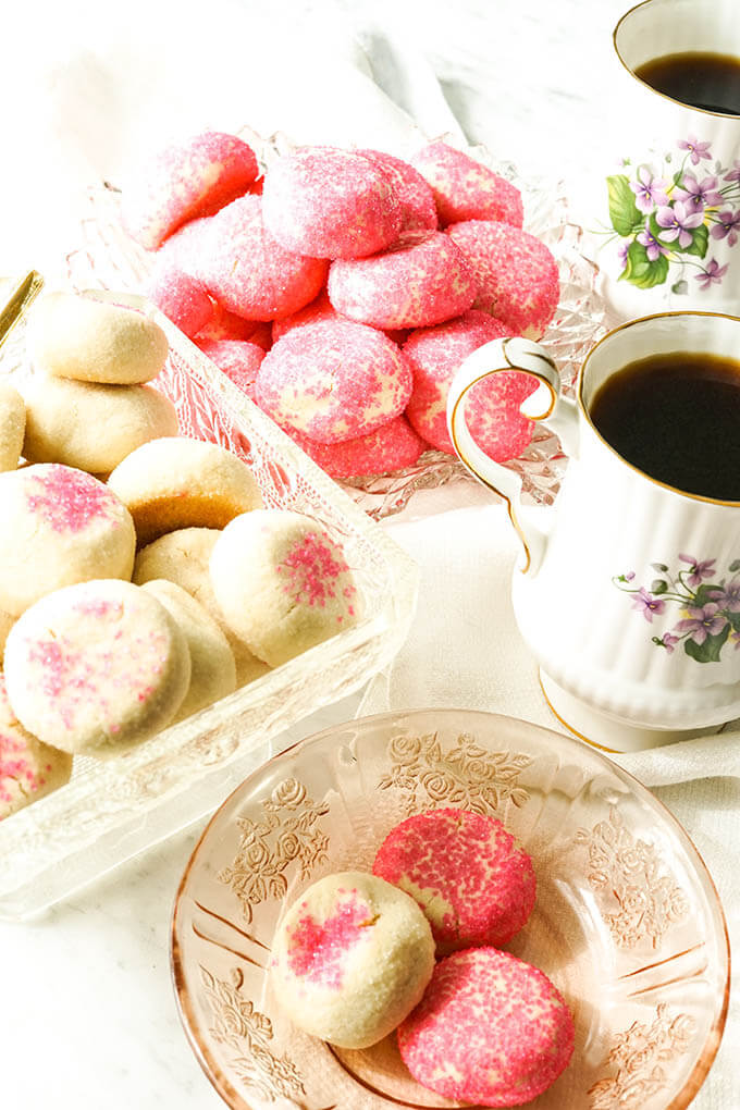 Homemade Butter Cookies in glass dish with coffee