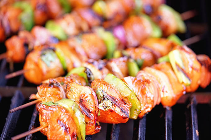 Chicken Skewers on grill.