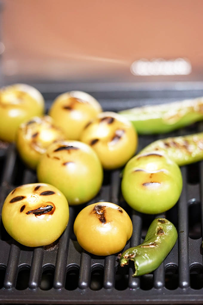 Charred vegetables on the grill.