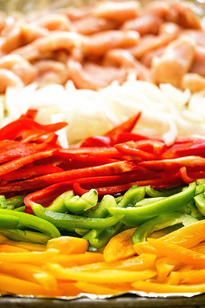 Sliced chicken, onion and red, green and yellow bell peppers sliced on sheet pan.