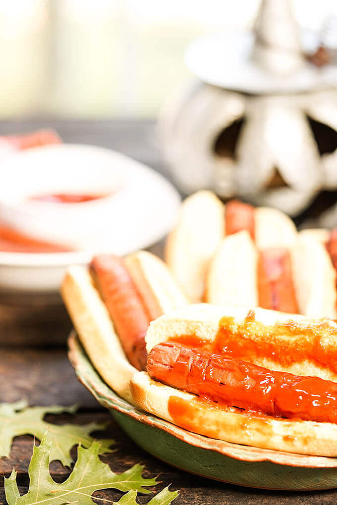 Halloween hot dogs in buns