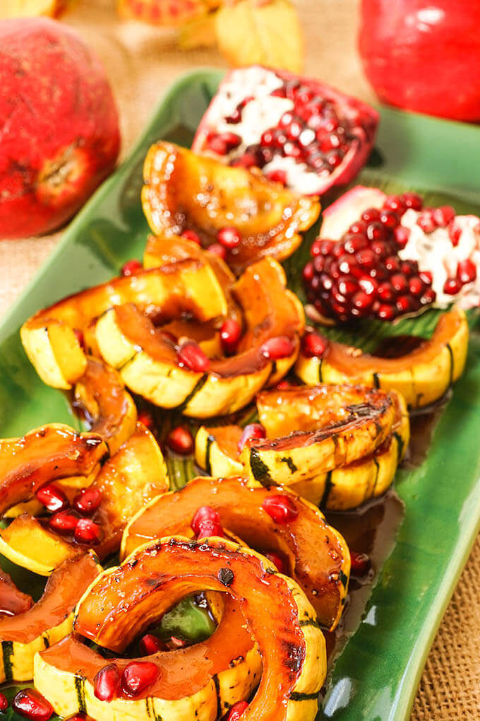 Roasted Delicata Squash Recipe on green platter with glaze