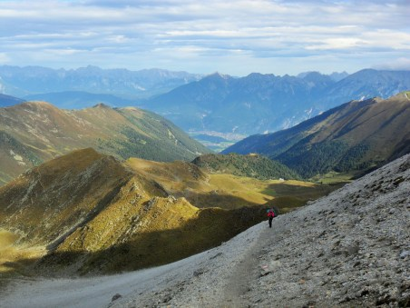 Looking back to the A-P hut, Innsbruck and beyond.