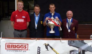 BCGBA Briggs Equipment UK British Junior Merit. From left- Bailey Rice (Runner Up), Phil Brown (BCGBA Deputy President), Andy Armstrong (Winner) & Peter Higham (BCGBA President)