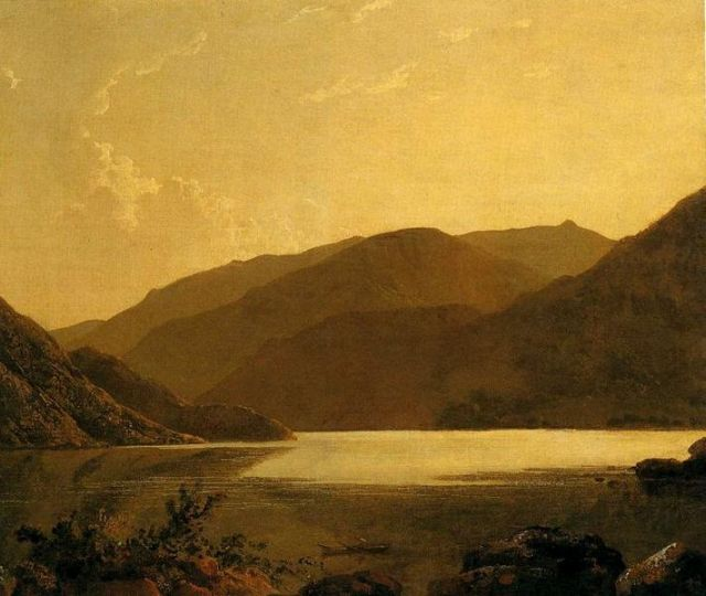A painting of Ullswater by Joseph Wright, circa 1795. Ullswater was one of the must-see sights in the Lake District during the 1700s. (Photo courtesy of http://commons.wikimedia.org/wiki/File:Joseph_Wright_of_Derby._Ullswater._c.1795.jpg)