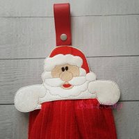 Santa Towel Topper ITH  Bows and Clothes