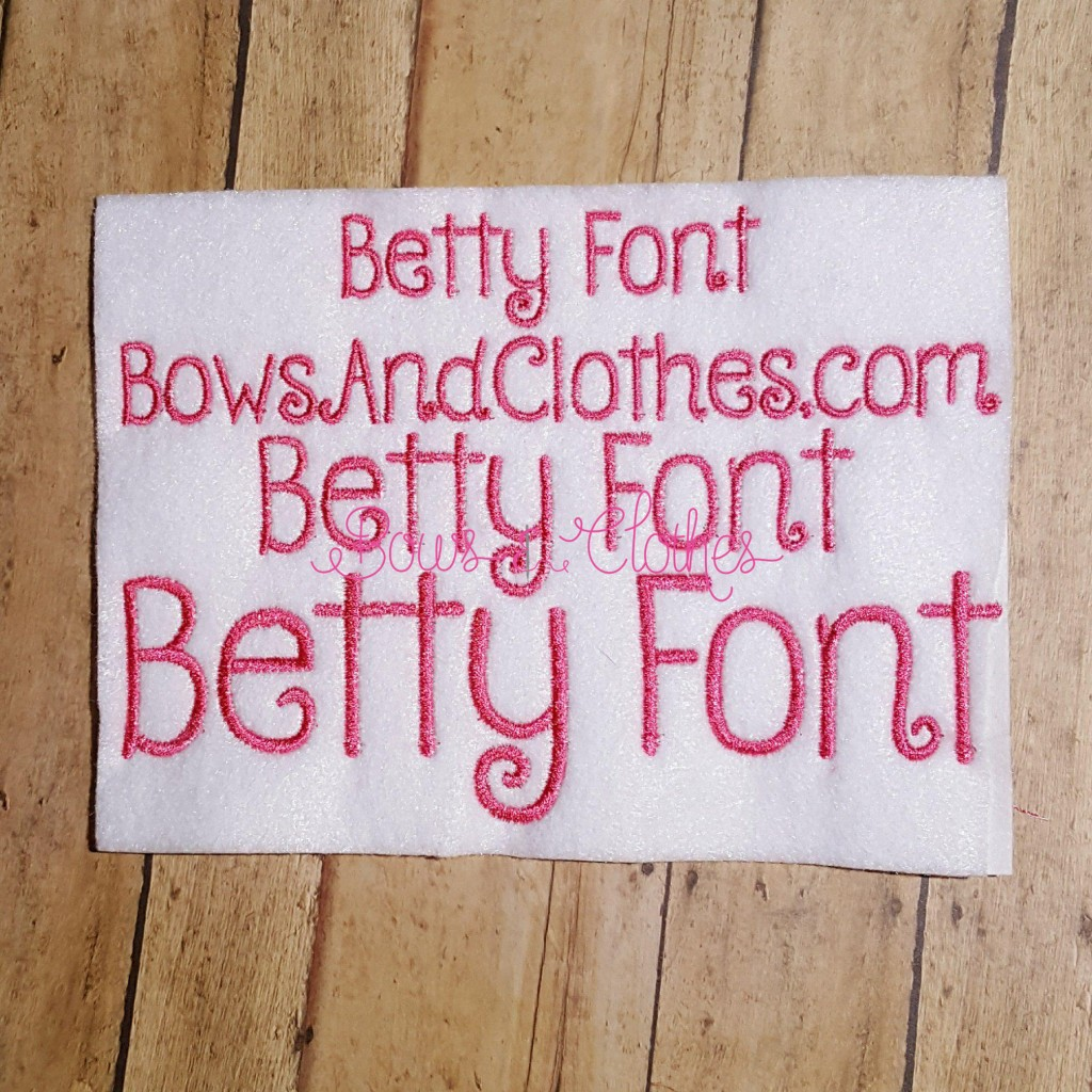 "Betty Font 3/4"", 1"", 1 1/2"" & BX"