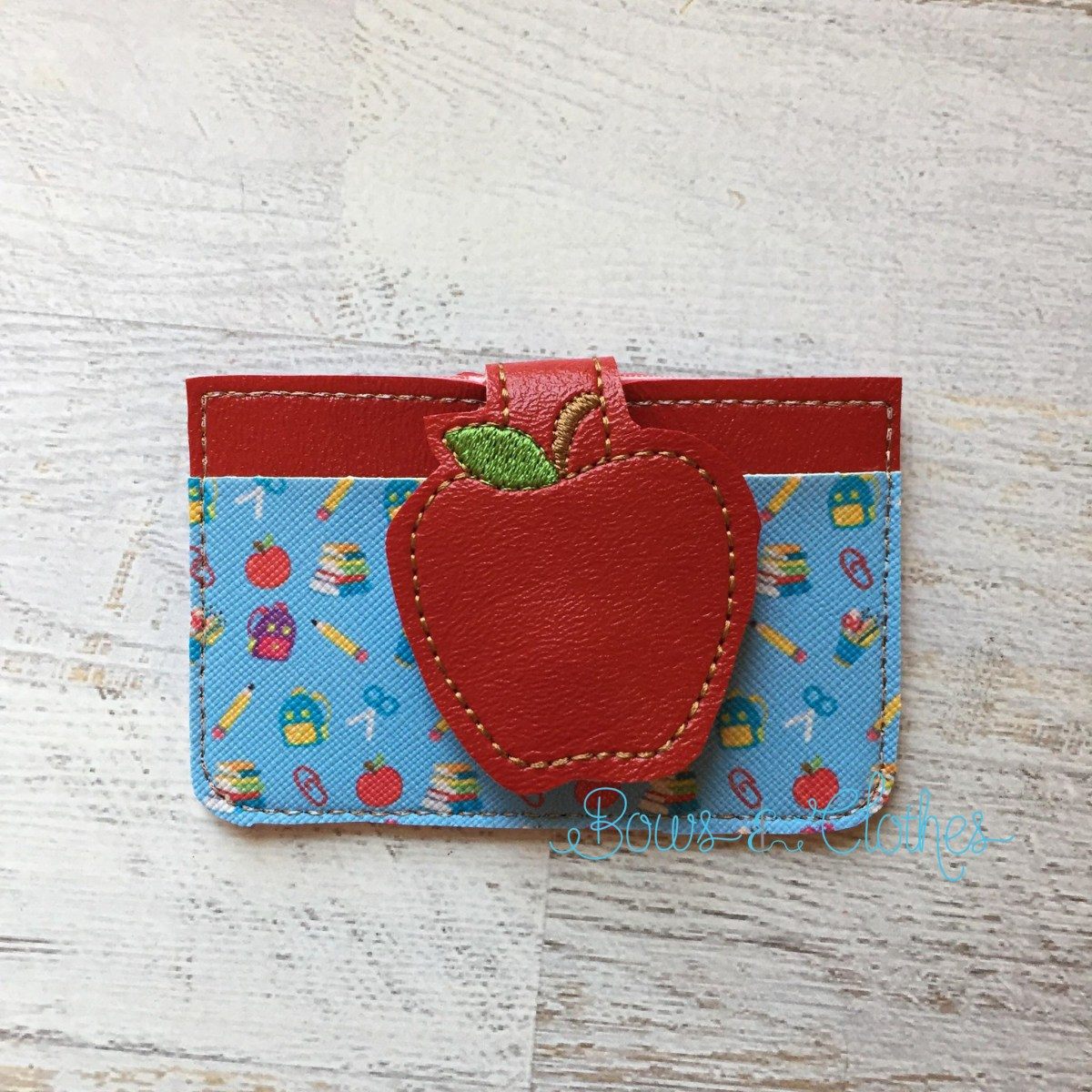 Apple Fold Over Feltie Credit Card Holder