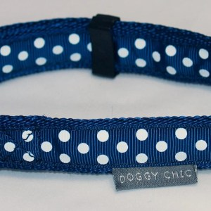 Doggy Chic Navy Blue Polka Dot Adjustable Collar on Navy Blue Webbing with Plastic Hardware