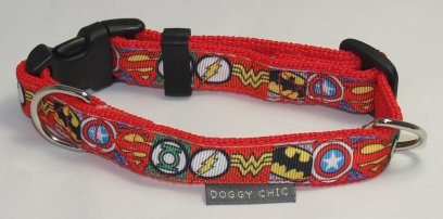 Doggy Chic Marvel Superheroes Adjustable Collar on Red Webbing with plastic Hardware