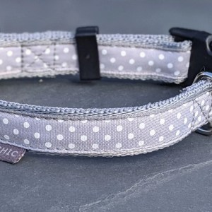grey polka dot collar for your dog