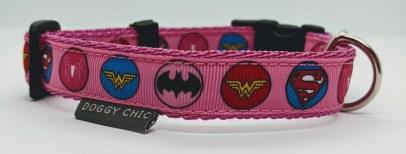 girlie superhero adjustable collar for your dog