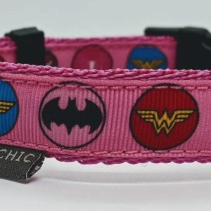 girlie superhero adjustable collar for your dog