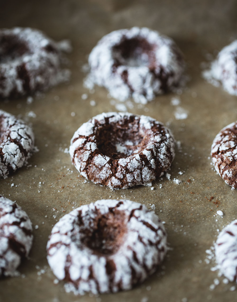 chocolate crinkle thumbprint cookies