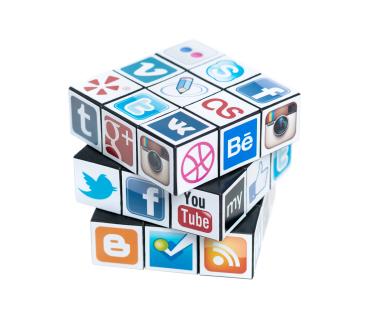 Rubick's Cube with social media logos