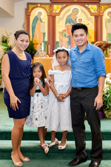 hazel first communion family picture