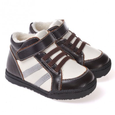 caroch-chaussures-semelle-souple-montantes-fourrees-marron-et-blanc