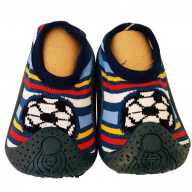 chaussons-chaussettes-enfants-antiderapants-semelle-souple-foot-raye