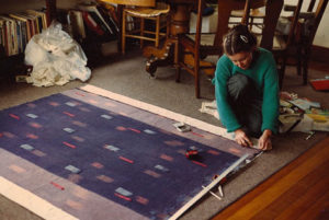 Archive photo: Astrid finishing handwoven ikat wall piece