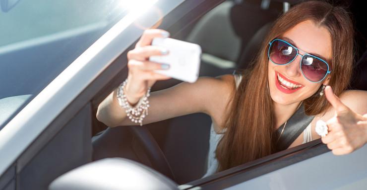 Driver taking selfie
