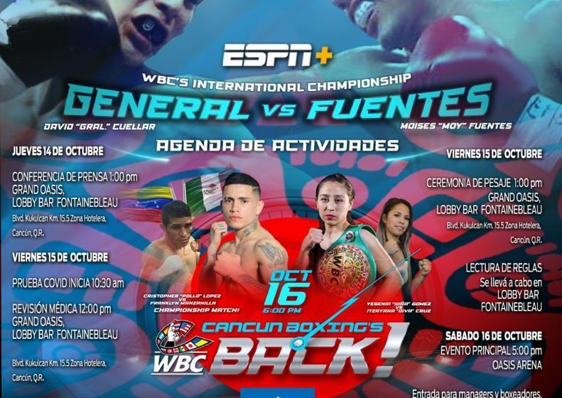 VUELVE A CANCÚN EL BOXEO DEL MÁS ALTO NIVEL A TRAVÉS DE ESPN