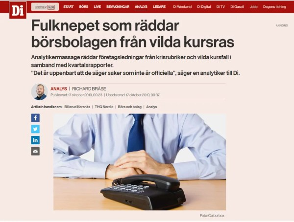 Richard Bråse, DI, Dagens Industri, Analyspodden